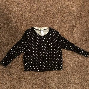 NWT Black and White 3/4 button down sweater